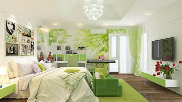 Thiết kế nội thất với màu xanh lá cây